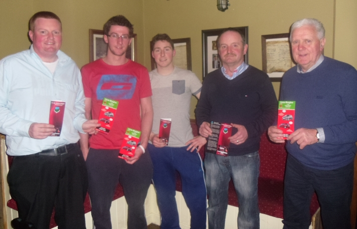 Pictured at the launch of Garrymore GAA Clubs new Patron scheme held recently in Lyons Bar, Roundfort are (l-r) Enda McGearty, David Dolan and Michéal Connolly (Garrymore Senior Team Players); John Farragher and Billy Fitzpatrick (Special guest).